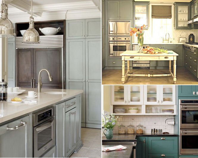 Painted Kitchen Cabinets Mayhar Design - Light blue grey kitchen cabinets